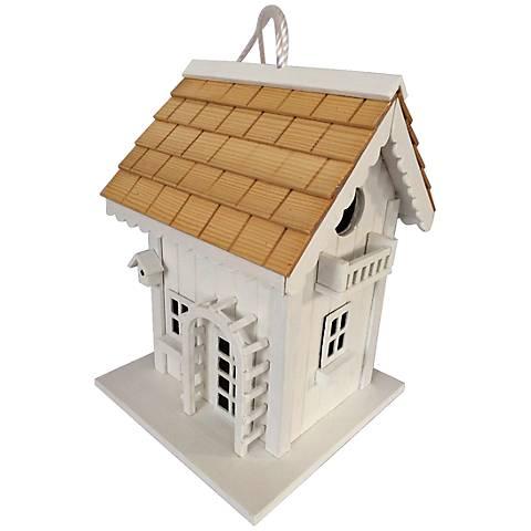 Arbor Pine Shingle White Cottage Birdhouse