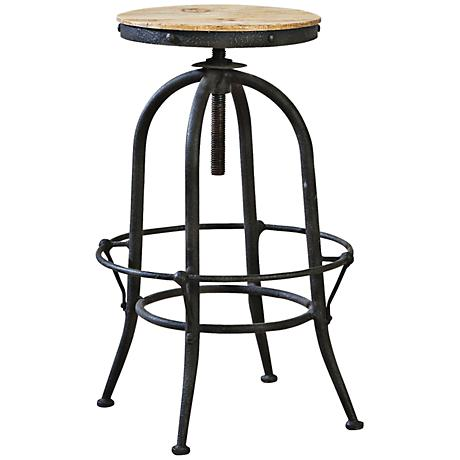 Industrial Wood and Metal Adjustable Backless Pub Stool