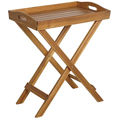 France Outdoor Honey Brown Wood Tray with Stand