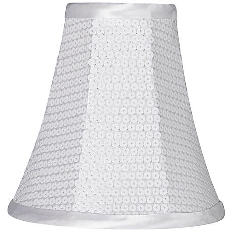 White Sequin Softback Lamp Shade 3x6x6 (Clip-On)