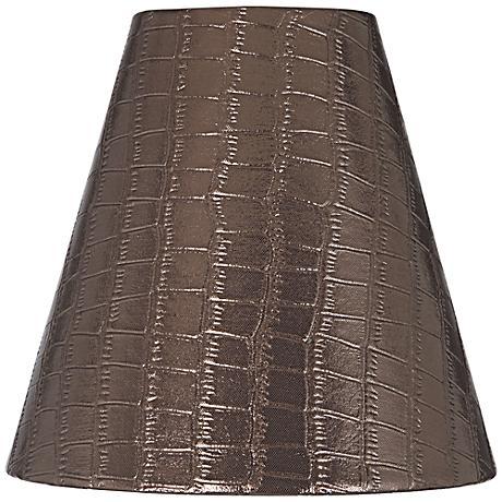 Metallic Bronze Reptile Print Lamp Shade 3x6x6 (Clip-On)