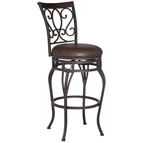 """Trevi Wood and Bronze Metal 26"""" Swivel Counter Stool"""