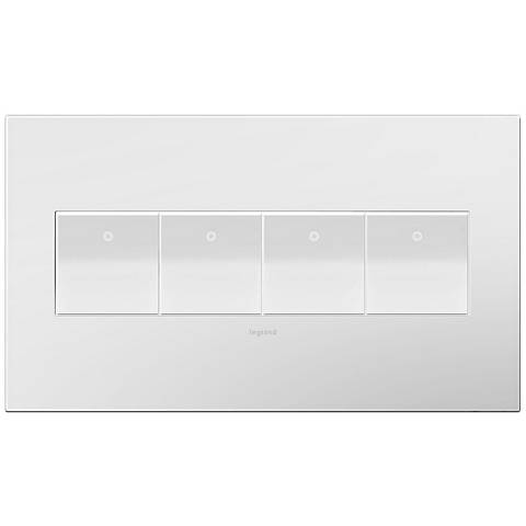 adorne Gloss White-on-White 4-Gang Wall Plate w/ 4 Switches