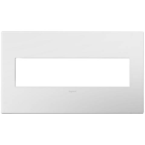 adorne Gloss White-on-White w/ White Back 4-Gang Wall Plate