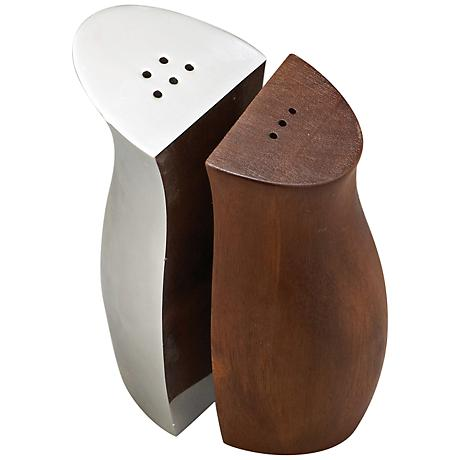 Nambe Wood and Silver 2-Piece Cradle Salt and Pepper Set