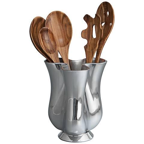 Nambe 6-Piece Silver Tulip Tool Jug with Tools Set
