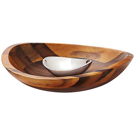 Nambe Braid 2-Piece Wood Chip and Alloy Metal Dip Set