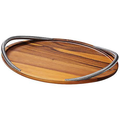 Nambe Braid Chrome Handles Wood Serving Tray