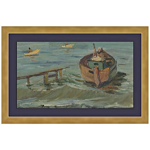 """Boats in Gurzuf, Black Sea 1950's 17 3/4"""" Wide Wall Art"""