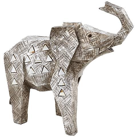 "Brushed Nickel Elephant 9 1/2"" Wide Sculpture"