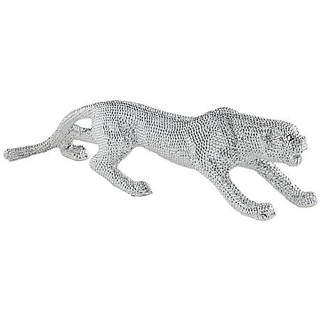 """Prowling 23 1/2"""" Wide Electroplated Silver Leopard Sculpture"""