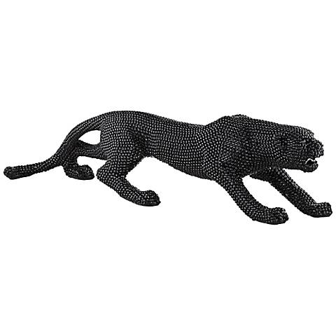 "Prowling 23 1/2"" Wide Black Leopard Sculpture"