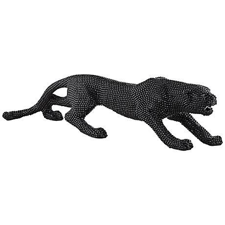 "Prowling 23 1/2"" Wide Black Leopard Sculpture"