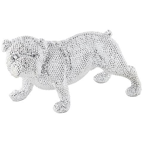 """Silver Standing Bulldog 15 3/4"""" Wide Sculpture"""