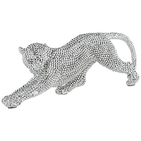 "Silver Prowling Leopard 17 1/2"" Wide Sculpture"