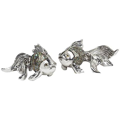 Mother of Pearl 2-Piece Goldfish Decorative Sculpture Set