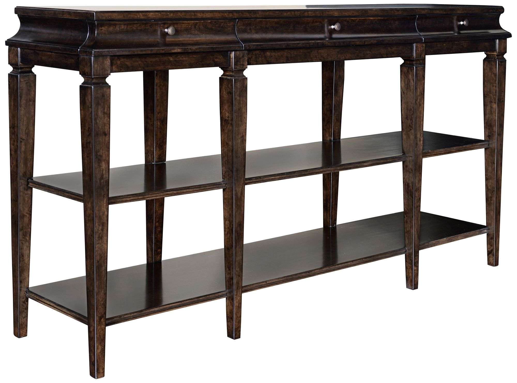 Proust Espresso Wood 3 Drawer Console Table