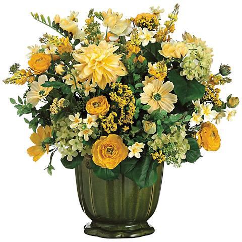 Dahlia and Ranunculus Faux Floral Arrangement in a Pot