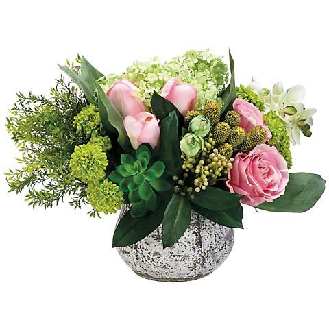 Orchid and SnowballFaux Floral Arrangement in Cement Pot
