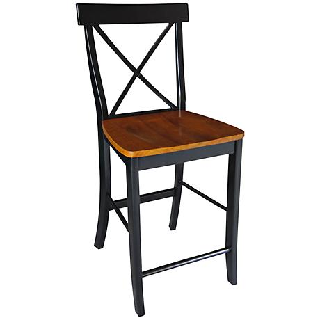 """X-Back 24"""" Black and Cherry Armless Counter Stool"""