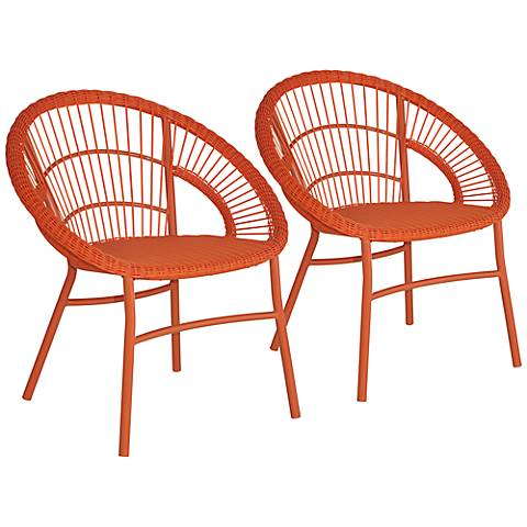 Alyso Cove Woven Orange Outdoor Chair Set of 2