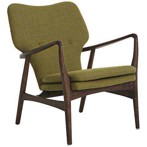 Elizabeth Green Upholstered with Walnut Frame Club Chair