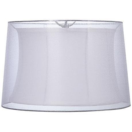 Silver and White Double Sheer Lamp Shade 15x17x11 (Spider)