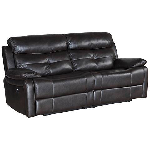 """Metro Jordan Java 85"""" Wide Faux Leather Power Recliner Sofa"""