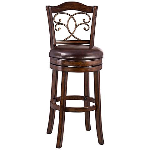 """Bolton Brown Faux Leather 26"""" Swivel Counter Stool"""