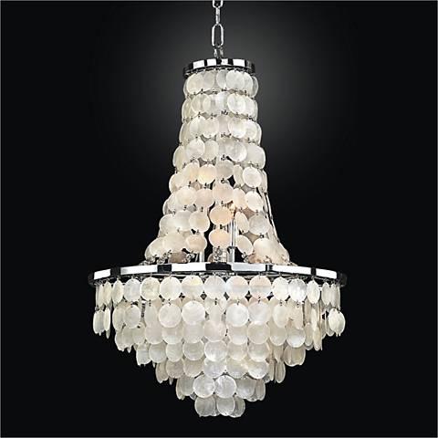 "Bayside 19"" Wide Silver Pearl Capiz Shell Chandelier"