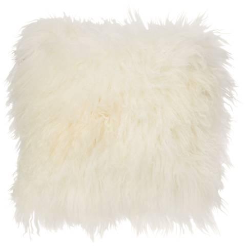 "Ivory Mongolian Fur 16"" Square Decorative Pillow"