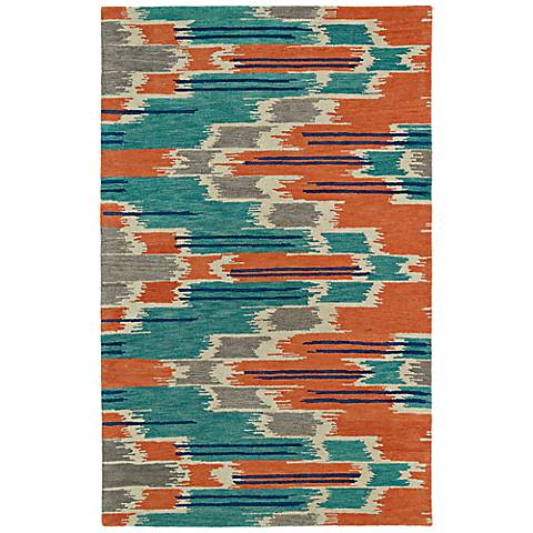 Kaleen Global Inspirations GLB02-86 Orange and Blue Rug