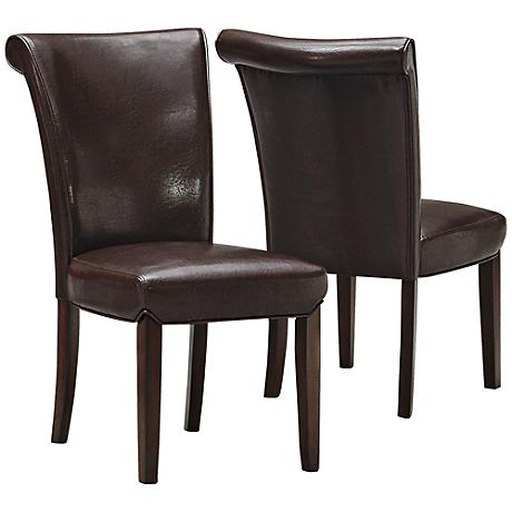 Landrew Dark Brown Faux Leather Side Chair Set of 2
