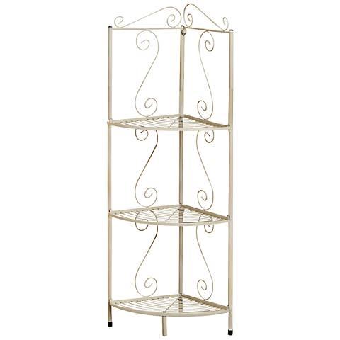 Chelmsworth 3-Shelf White Metal Corner Display Etagere
