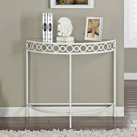 Kara white metal demilune hall console table 7g407 lamps plus White demilune console table