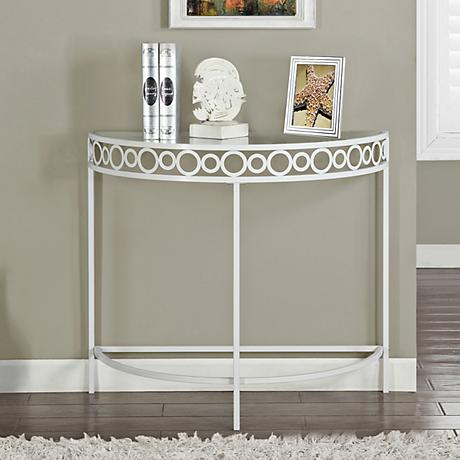 Kara White Metal Demilune Hall Console Table 7g407