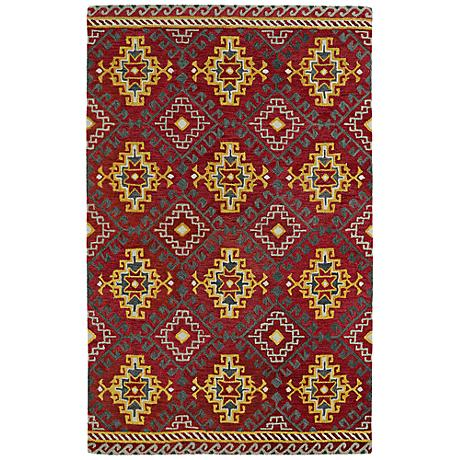 Kaleen Global Inspirations GLB07-25 Deep Red Wool Rug