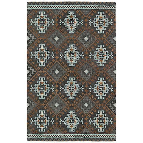 Kaleen Global Inspirations GLB07-75 Dark Gray Wool Area Rug