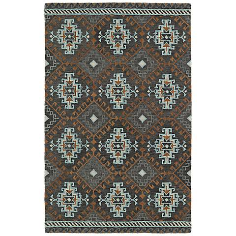 Kaleen Global Inspirations GLB07-75 Dark Gray Wool Area Rug