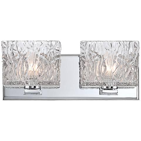 "Lavonia Chrome 13"" Wide 2-Light Molten Glass Bath Light"