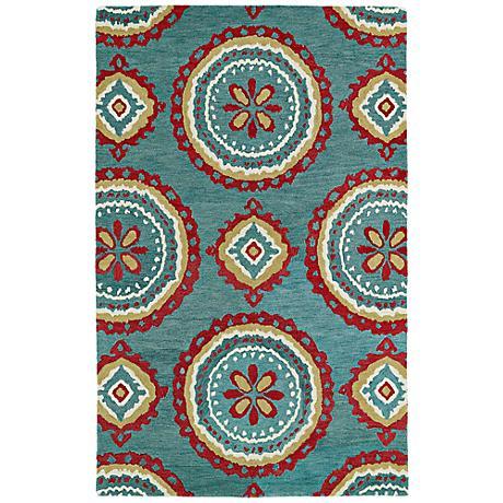 Kaleen Global Inspirations GLB09-91 Teal Wool Area Rug