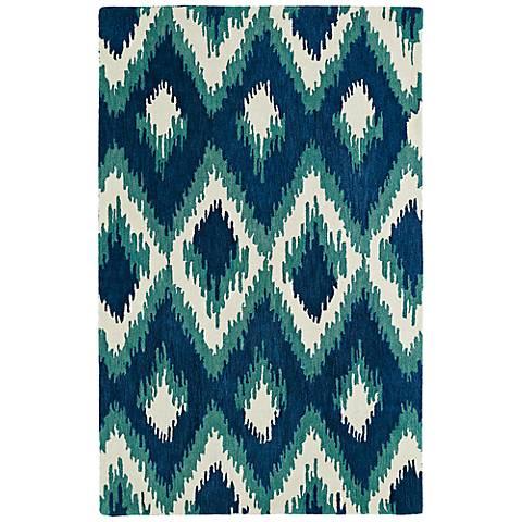 Kaleen Global Inspirations GLB10-17 Blue Diamonds Wool Rug