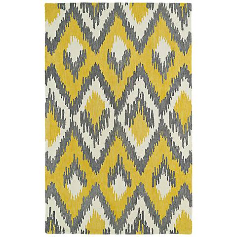 Kaleen Global Inspirations GLB10-28 Yellow Diamonds Rug