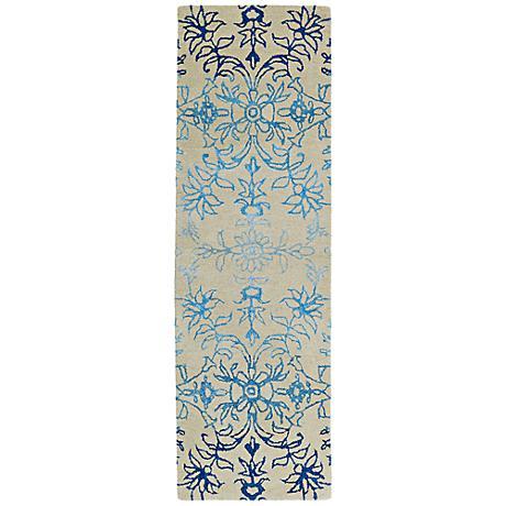 Kaleen Divine DIV01-42 Ivory and Blue Floral Ombre Area Rug