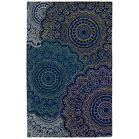 Kaleen Divine DIV03-22 Navy Floral Medallion Wool Area Rug