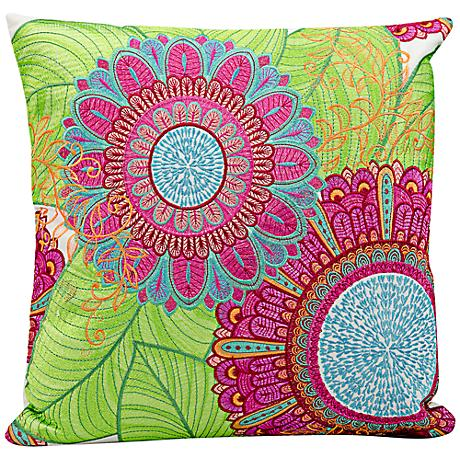 """Mina Victory Pink 18"""" Square Floral Outdoor Pillow"""