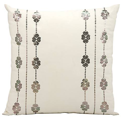 """Mina Victory Ivory and Silver 20"""" Indoor-Outdoor Pillow"""