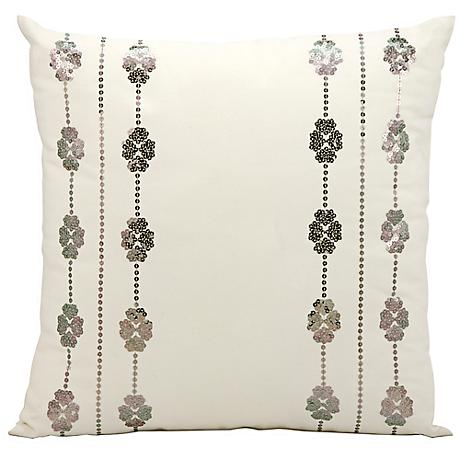 """Mina Victory Ivory and Silver 20"""" Square Outdoor Pillow"""