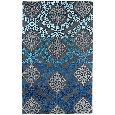 Kaleen Divine DIV04-100 Ice Blue Scroll Wool Area Rug