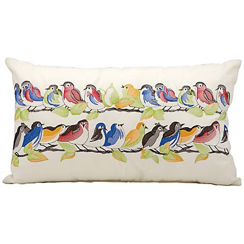 "Mina Victory Birds Branches 24"" x 14"" Indoor-Outdoor Pillow"